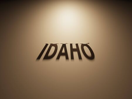 upside: A 3D Rendering of the Shadow of an upside down text that reads Idaho.