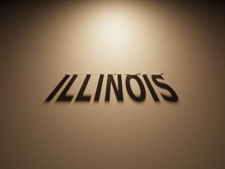 upside: A 3D Rendering of the Shadow of an upside down text that reads Illinois. Stock Photo