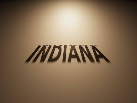 A 3D Rendering of the Shadow of an upside down text that reads Indiana. Stock Photo