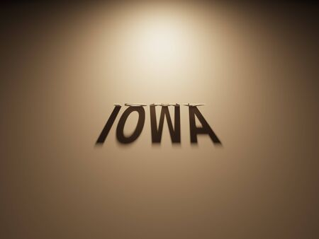 upside: A 3D Rendering of the Shadow of an upside down text that reads Iowa.