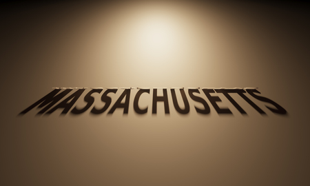 upside: A 3D Rendering of the Shadow of an upside down text that reads Massachusetts.