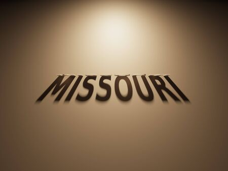 upside: A 3D Rendering of the Shadow of an upside down text that reads Missouri.