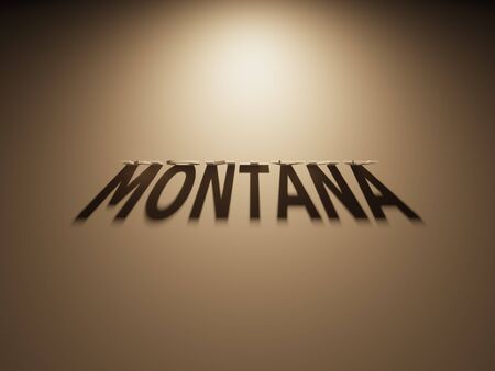 upside down: A 3D Rendering of the Shadow of an upside down text that reads Montana.