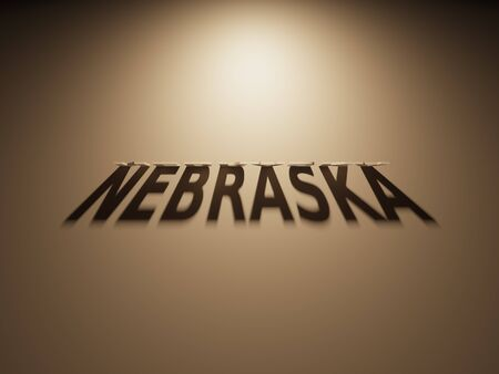 upside down: A 3D Rendering of the Shadow of an upside down text that reads Nebraska.