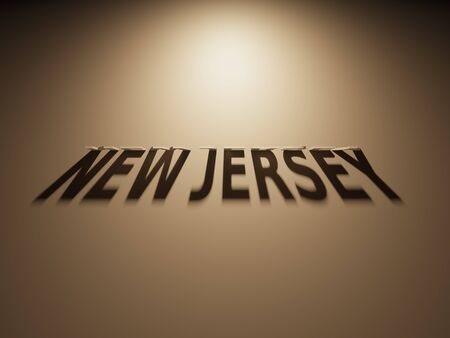 upside down: A 3D Rendering of the Shadow of an upside down text that reads New Jersey.