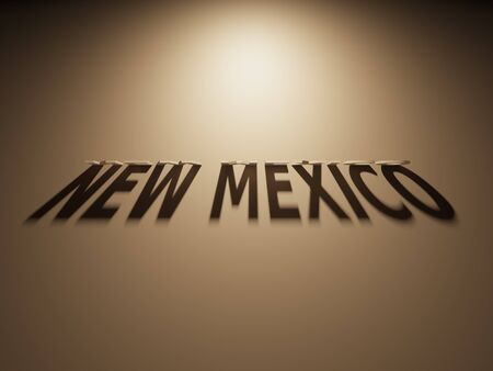 A 3D Rendering of the Shadow of an upside down text that reads New Mexico. 版權商用圖片 - 58657678