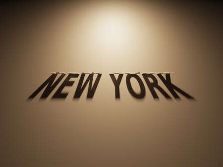 upside: A 3D Rendering of the Shadow of an upside down text that reads New York. Stock Photo