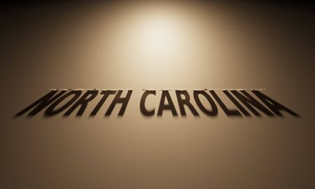 A 3D Rendering of the Shadow of an upside down text that reads North Carolina. 版權商用圖片