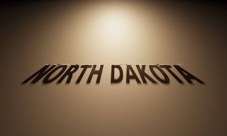 upside: A 3D Rendering of the Shadow of an upside down text that reads North Dakota. Stock Photo