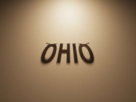 upside: A 3D Rendering of the Shadow of an upside down text that reads Ohio.