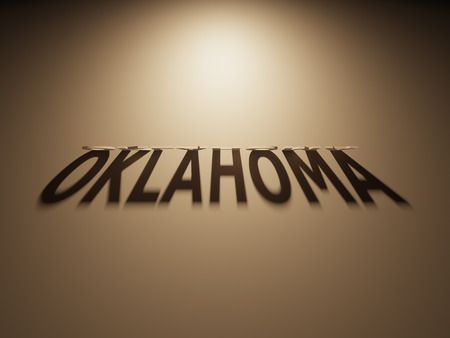 upside down: A 3D Rendering of the Shadow of an upside down text that reads Oklahoma.