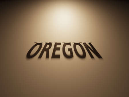 A 3D Rendering of the Shadow of an upside down text that reads Oregon. 版權商用圖片