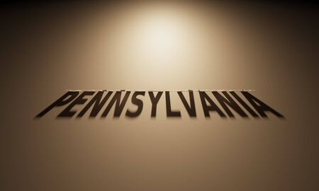 A 3D Rendering of the Shadow of an upside down text that reads Pennsylvania. 版權商用圖片 - 58658656