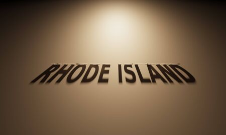 upside: A 3D Rendering of the Shadow of an upside down text that reads Rhode Island. Stock Photo