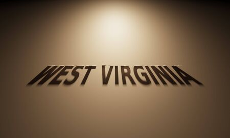 state: A 3D Rendering of the Shadow of an upside down text that reads West Virginia.
