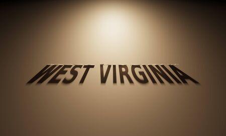 constitucion: Una representación 3D de la sombra de un texto que lee al revés Virginia Occidental.