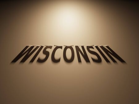 upside: A 3D Rendering of the Shadow of an upside down text that reads Wisconsin. Stock Photo