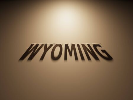 upside down: A 3D Rendering of the Shadow of an upside down text that reads Wyoming. Stock Photo
