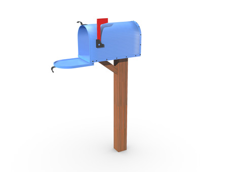 casing: A 3D rendering of a blue and empty US Mailbox, open with corrugated casing and red flag up. Stock Photo
