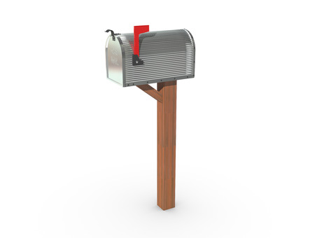 casing: A 3D rendering of a chrome and empty US Mailbox, closed with corrugated casing and red flag up.