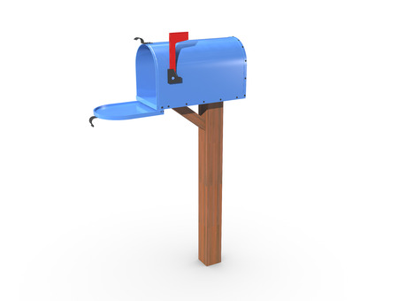 casing: A 3D rendering of a blue and empty US Mailbox, open with clean casing and red flag up. Stock Photo