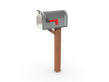 casing: A 3D rendering of a chrome and empty US Mailbox, closed with corrugated casing and red flag down.