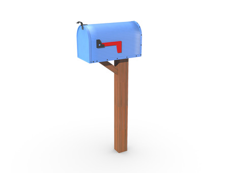 casing: A 3D rendering of a blue and empty US Mailbox, closed with corrugated casing and red flag down.