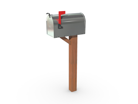 casing: A 3D rendering of a chrome and empty US Mailbox, closed with clean casing and red flag up. Stock Photo