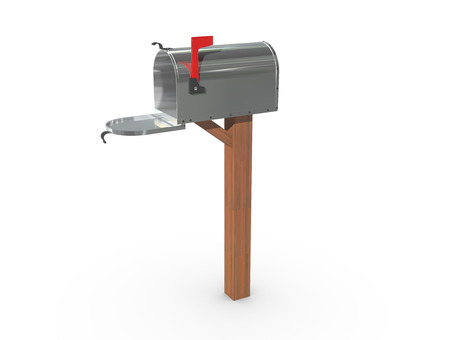 casing: A 3D rendering of a chrome and empty US Mailbox, open with clean casing and red flag up.