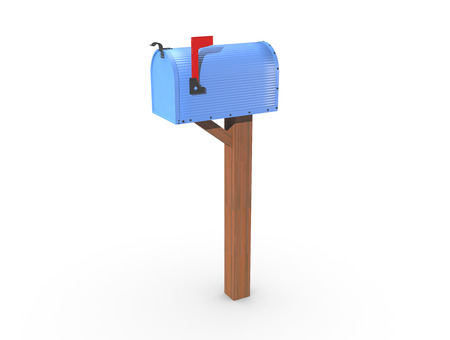 casing: A 3D rendering of a blue and empty US Mailbox, closed with corrugated casing and red flag up. Stock Photo