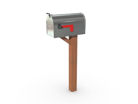 casing: A 3D rendering of a chrome and empty US Mailbox, closed with clean casing and red flag down.