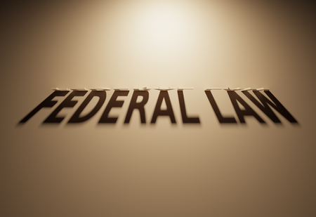 sentencing: A 3D Rendering of the Shadow of an upside down text that reads Federal Law.