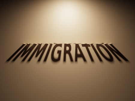 refuge: A 3D Rendering of the Shadow of an upside down text that reads Immigration.