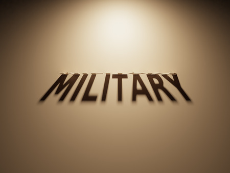 peace treaty: A 3D Rendering of the Shadow of an upside down text that reads Military.