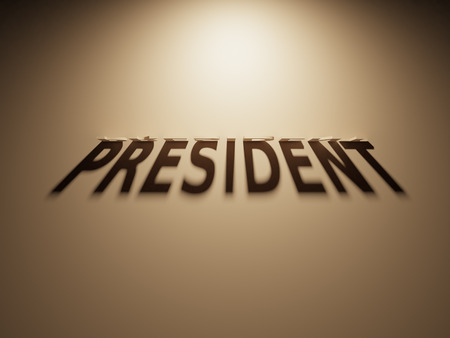 A 3D Rendering of the Shadow of an upside down text that reads President