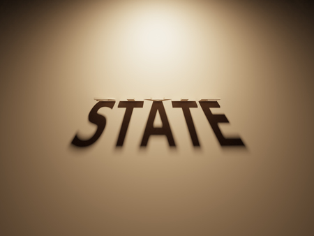 A 3D Rendering of the Shadow of an upside down text that reads State. Reklamní fotografie