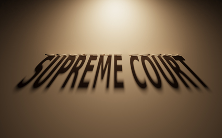 defendant: A 3D Rendering of the Shadow of an upside down text that reads Supreme Court.