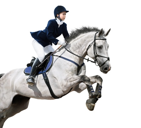 springpaard: Jong meisje springen met grijze paard - geïsoleerd op wit Stockfoto
