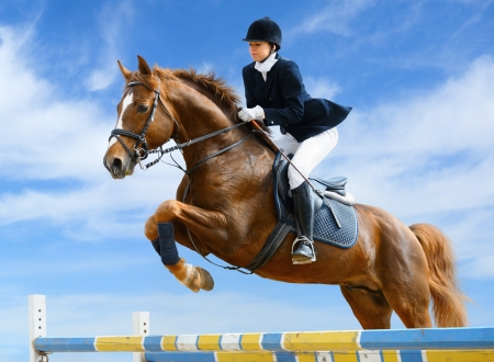 horse riding: Young girl jumping with sorrel horse Stock Photo