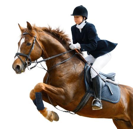 springpaard: Jong meisje springen met sorrel paard - geïsoleerd op wit
