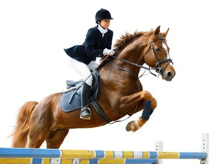 Niña saltando con caballo acederas - aislado en blanco