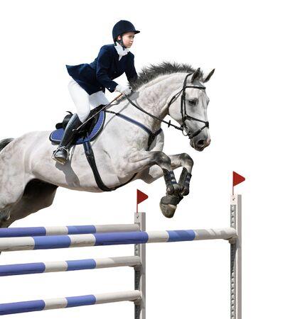caballo saltando: Niña saltando con caballo gris - aislado en blanco