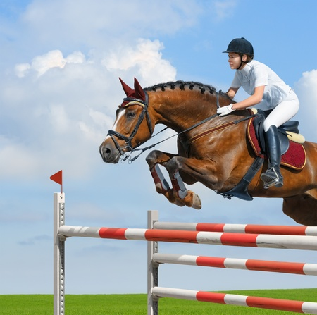 leaping: Young woman jumping with bay horse