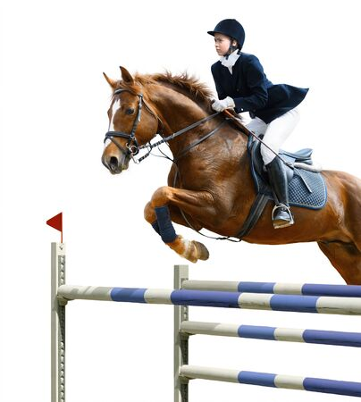 Young girl jumping with sorrel horse - isolated on white Banque d'images