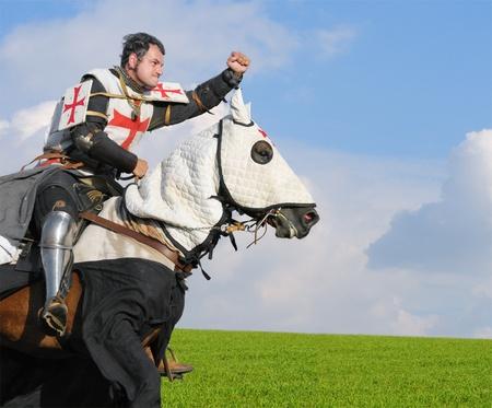 Re dei Templari - cavalier sul cavallo Archivio Fotografico - 9913037