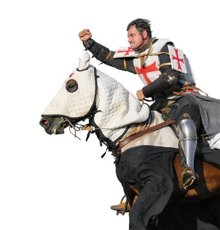 le roi Templier - cavalier sur cheval isol� sur fond blanc