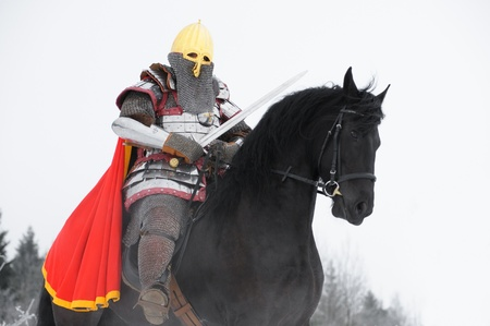 Slavic knight on black horse