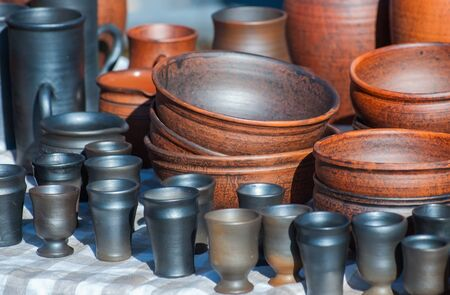 ware: Handmade ceramic ware. Black smoke ceramic ware. Stock Photo