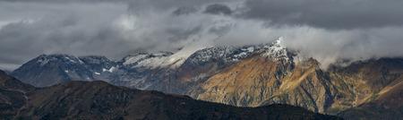 spurs: Panorama of Adzharo-Imeretinskiy Range. Northwest spurs Greater Caucasus Mountain Range. Caucasus mountains. Karachay-Cherkessia. Russia.