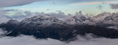 spurs: Mamkhurts Range in morning twilight. Northwest spurs Greater Caucasus Mountain Range. Caucasus mountains. Karachay-Cherkessia. Russia.